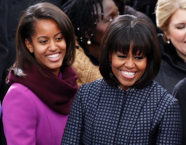 Sasha y Michelle Obama.
