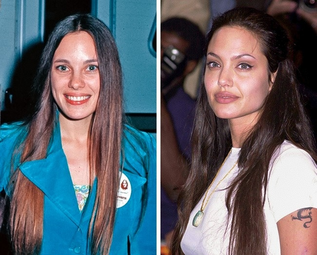 Marcheline Bertrand, 22 años. Angelina Jolie, 26 años.