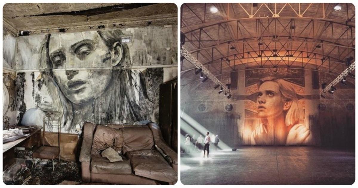 Este artista callejero crea estupendos retratos en lugares abandonados que muestran la fragilidad de la belleza. ¡Wow!