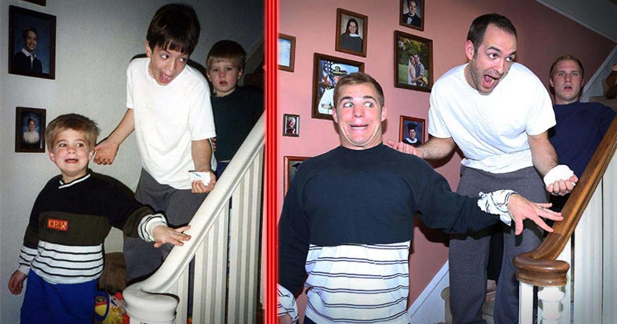 11 Graciosas imágenes de 3 hermanos recreando fotos antiguas
