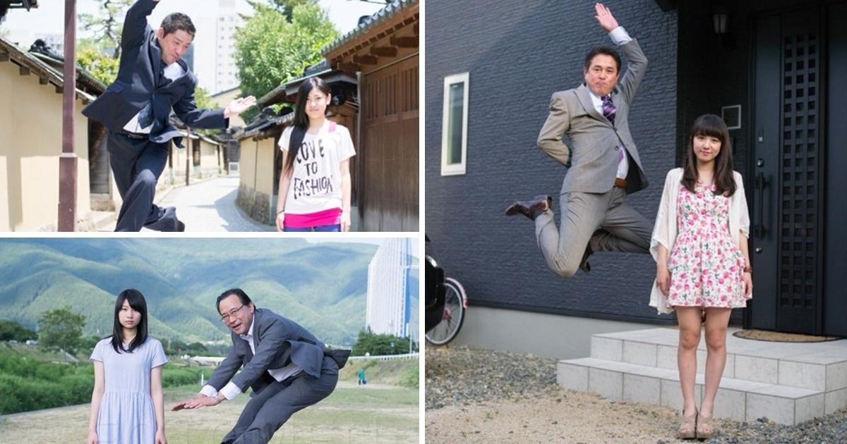11 Padres japoneses posando de una manera inusual con sus hijas ¡El #10 es el más loco!