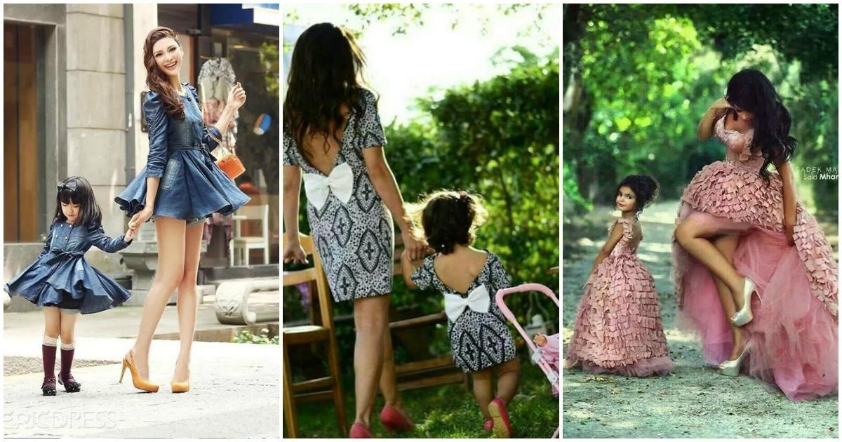 Madres e hijas derrochando ternura utilizando el mismo outfit