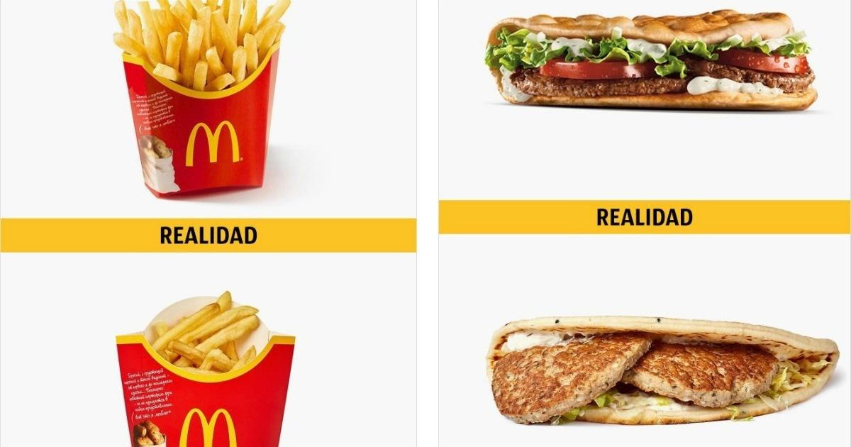 Como se ve la comida en la publicidad de McDonald's, Burger King, Subway y KFC, y como es en realidad