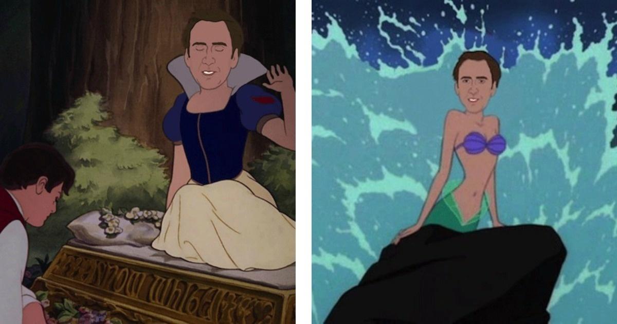 ¿Cómo sería si Nicolas Cage hubiera interpretado a las princesas de Disney?