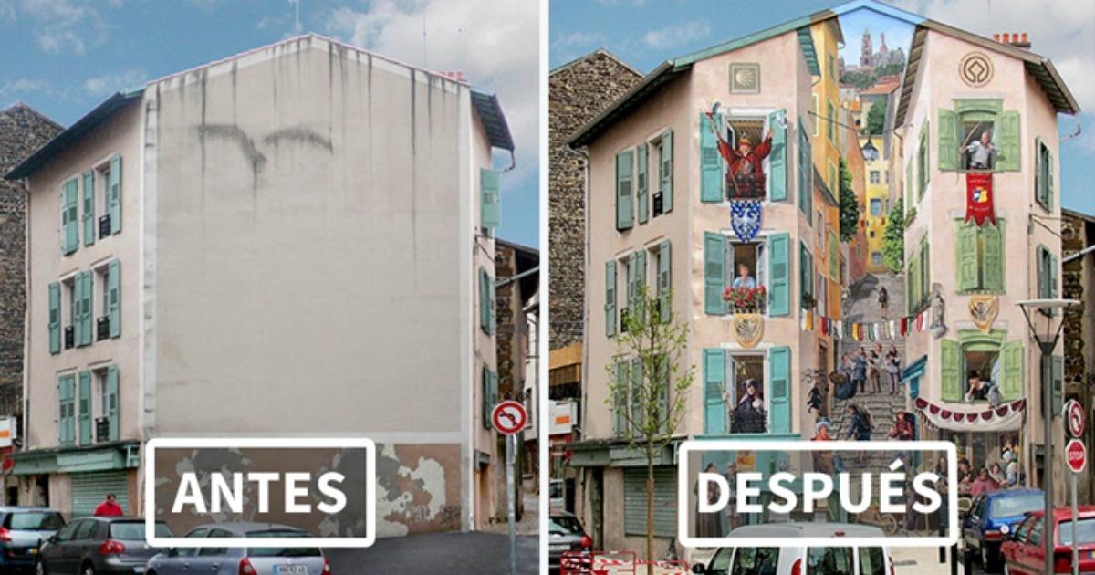 Mira 10 fotos de lo que hace este artista con las fachadas de las casas ¡Lo necesito en mi ciudad!