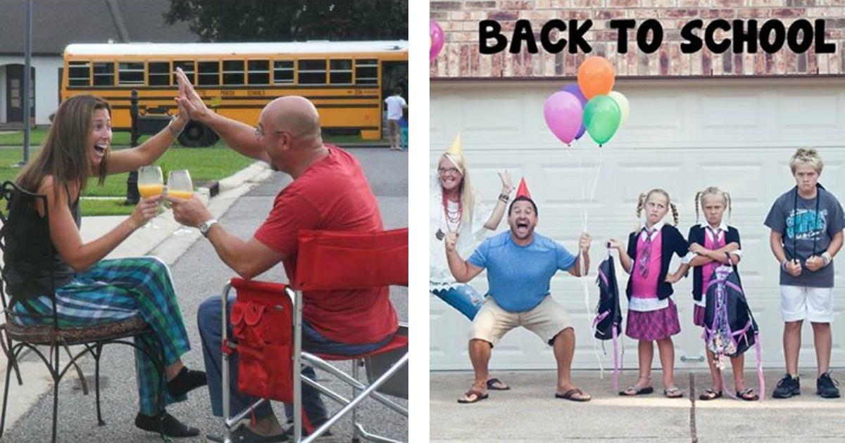 Divertidas fotos de padres festejando el regreso a clases