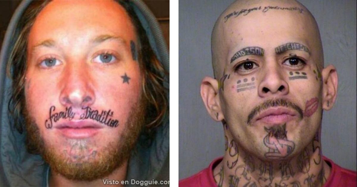 12 Tatuajes faciales para morir de miedo o de risa