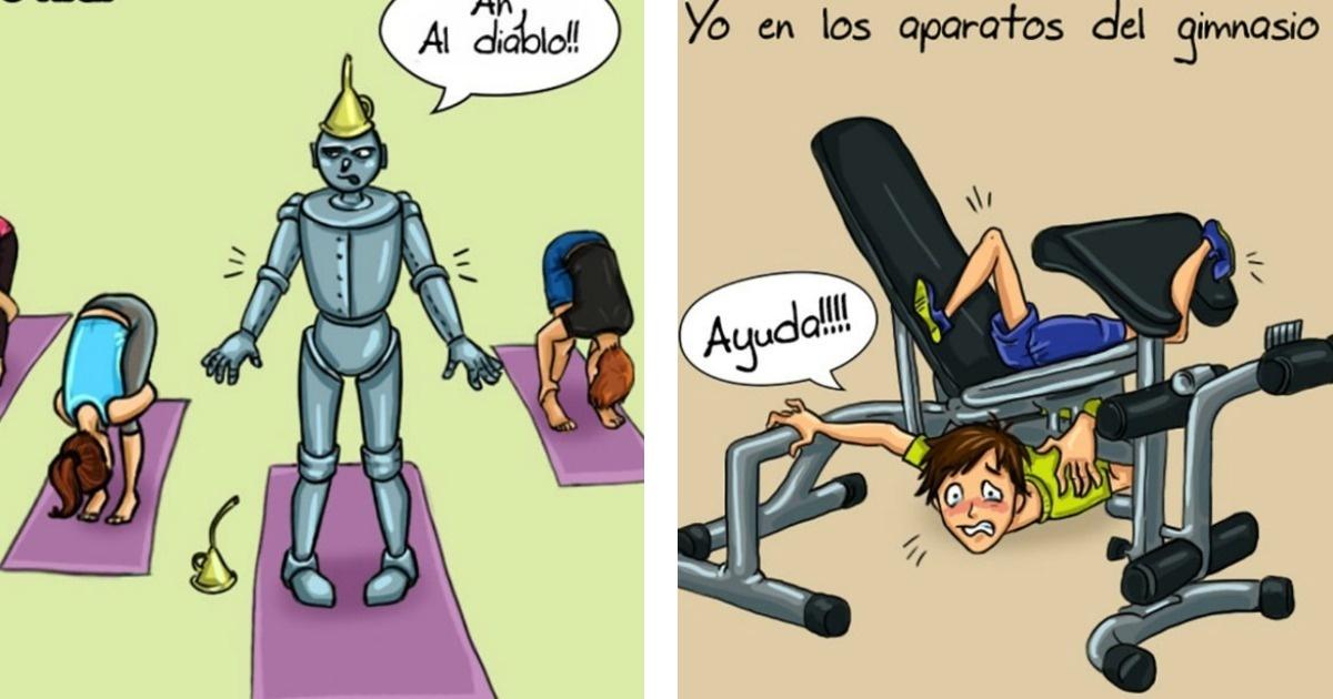 8 Graciosas ilustraciones sobre cómo es el primer día en el Gym