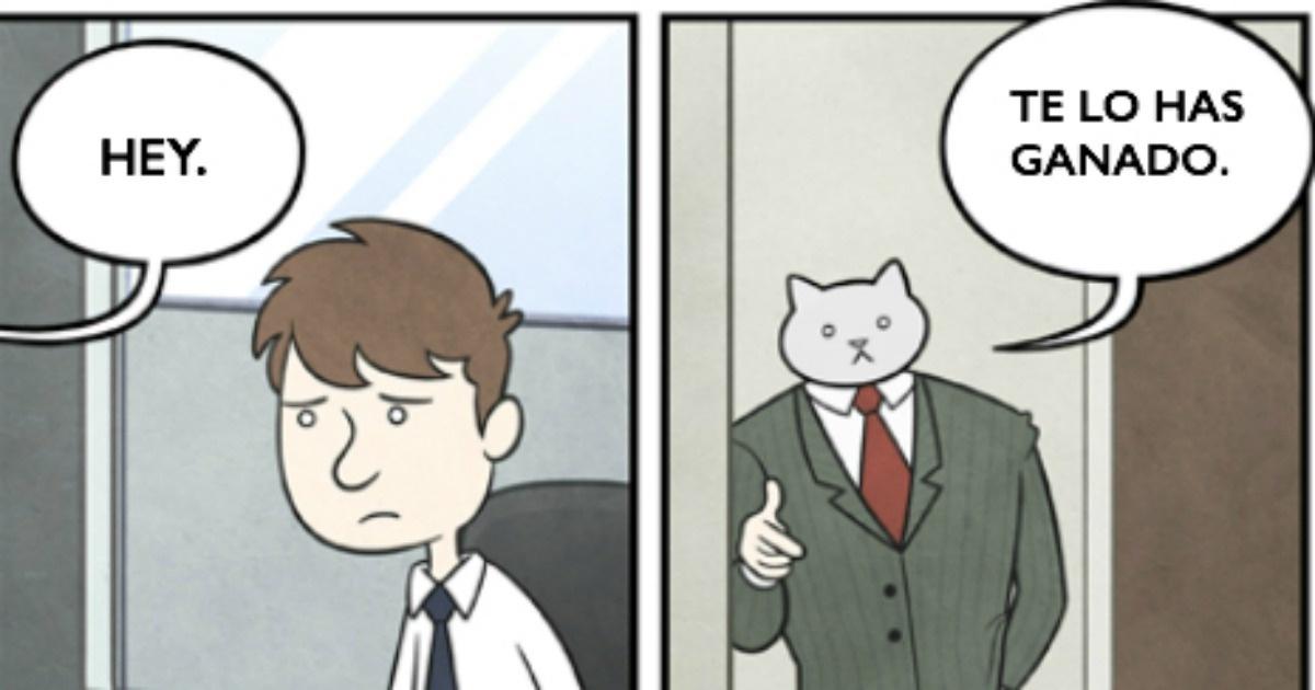 11 Graciosas ilustraciones sobre la vida de un gato oficinista