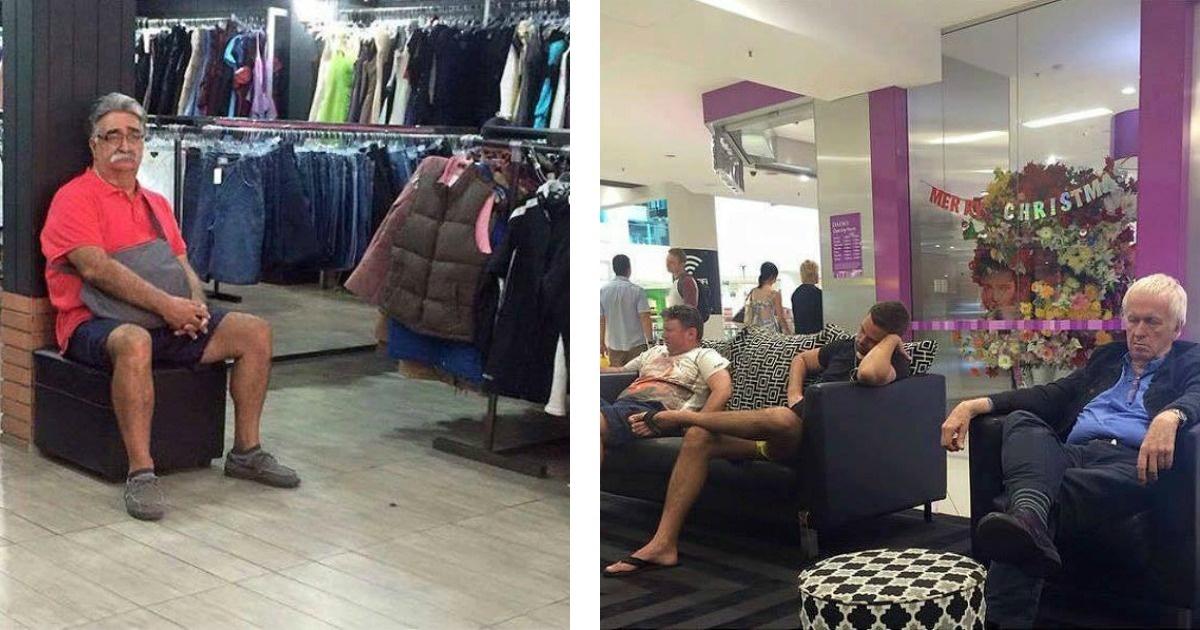 """Hombres que sufrieron el terrible ataque de """"ir de shopping"""" con su mujer"""