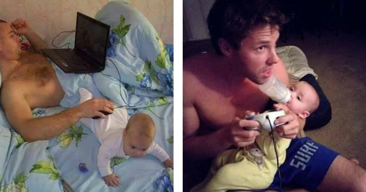 13 Divertidas fotos de papás pasando el tiempo con sus bebés