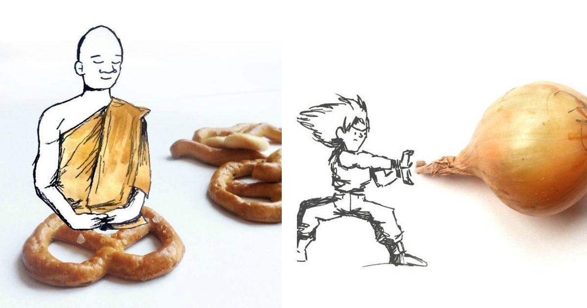 El arte de hacer dibujos combinándolos con cosas reales