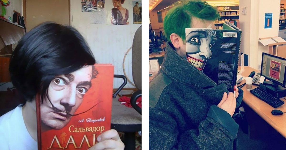 13 divertidas y muy creativas fotos utilizando portadas de libros y revistas