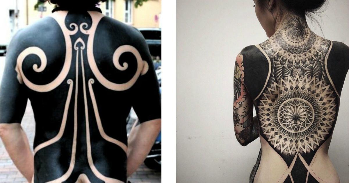 11 Tatuajes originales que son casi totalmente negros ¡Están de moda!