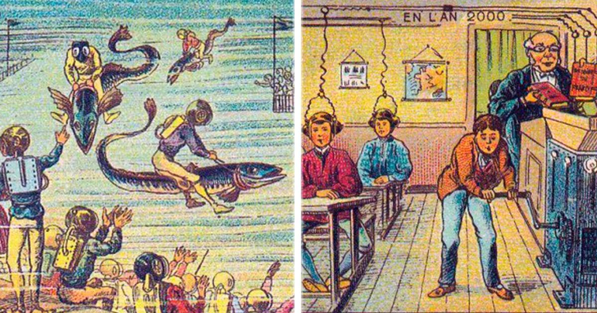 9 Ilustraciones del año 1900 que plasmaron cómo sería el 2000… ¡Ojalá le hubieran atinado con la #3!