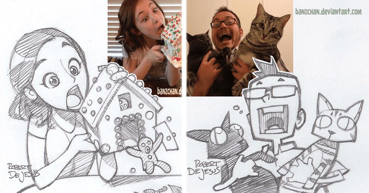 Este artista convierte fotos de extraños en personajes de anime.