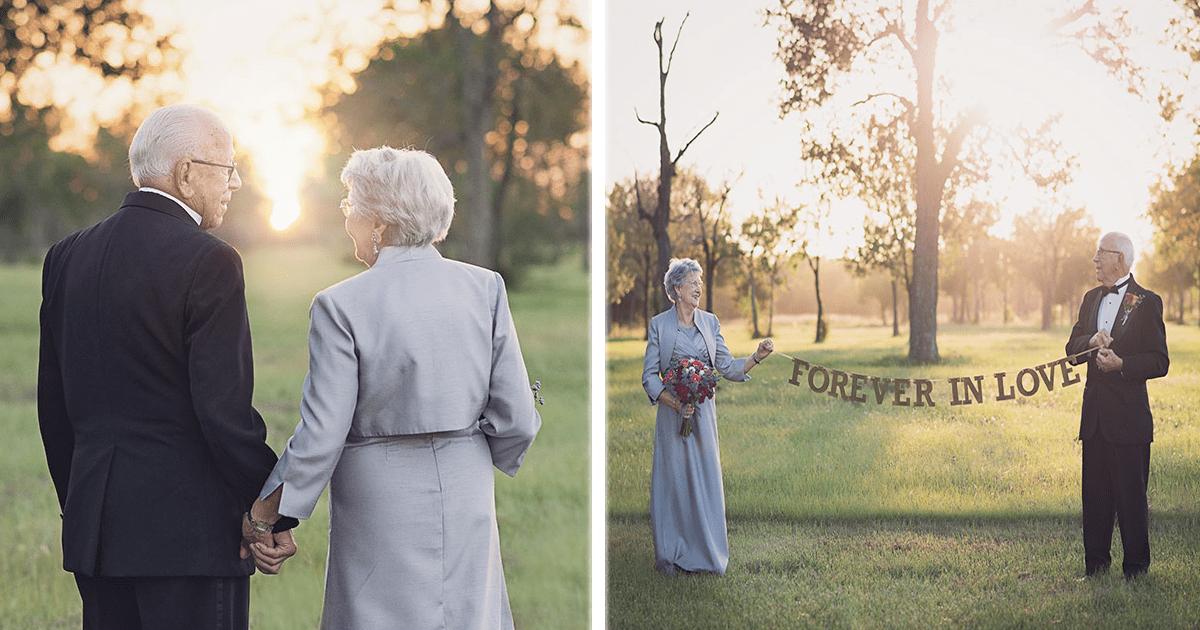 Esta pareja celebró su 70 aniversario de bodas con una sesión de fotos muy linda.