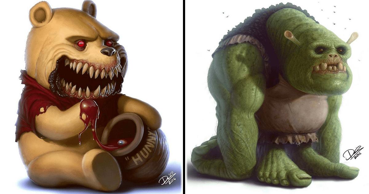 11 Personajes de caricaura transformados en terroríficos monstruos.