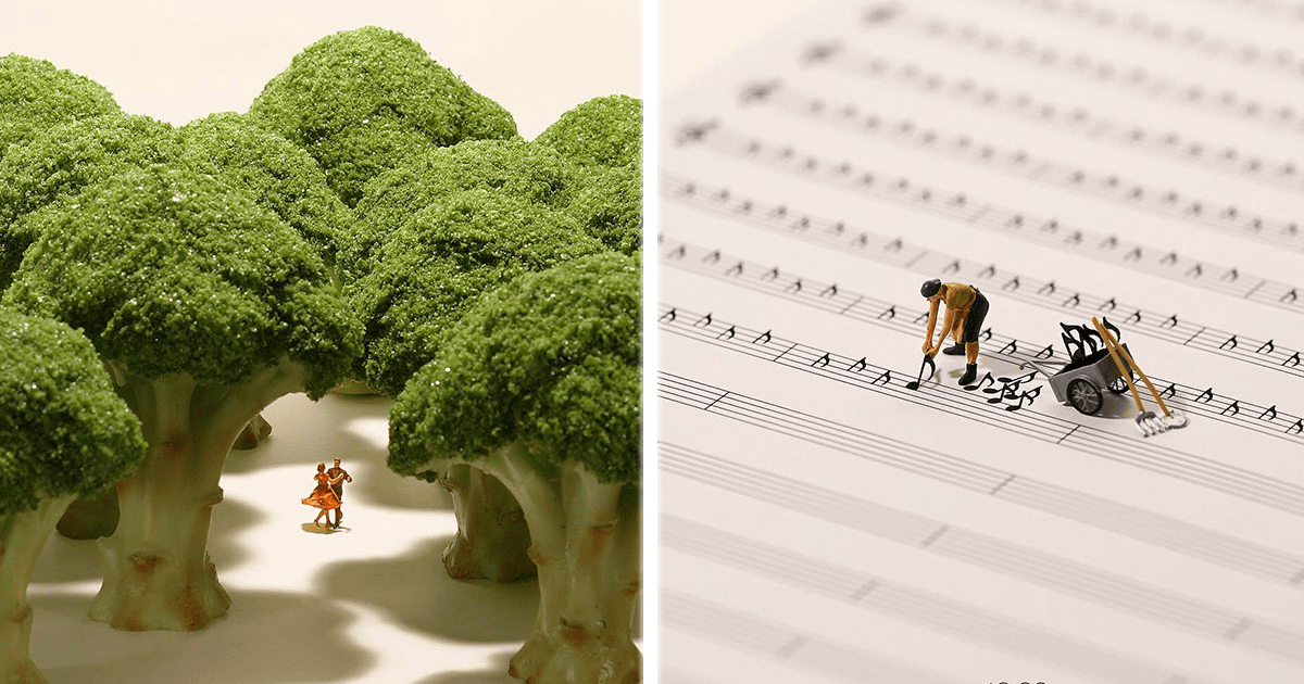 Este artista japonés crea pequeños mundos con objetos comunes y muñequitos.