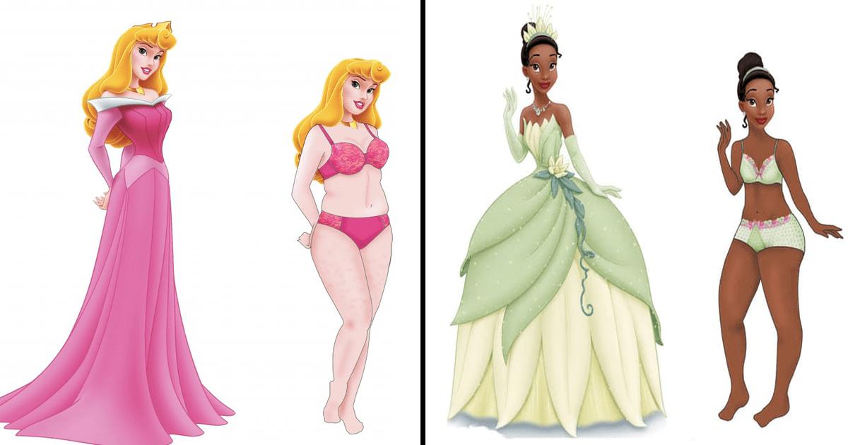 Alguien dibujó a las princesas Disney con cuerpos normales y ¡es genial!