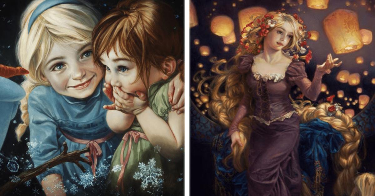 10 Personajes de Disney se convierten en pinturas clásicas y realistas.