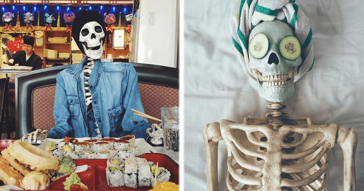 Un esqueleto con mucho estilo que comparte su vida en Instagram.