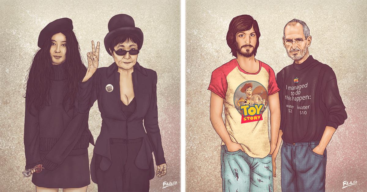 ¡Mira cómo Fulvio Obregón ilustra a celebridades con sus versiones jóvenes!