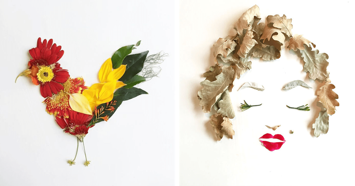 Este artista usa flores para crear increíbles obras de arte muy coloridas.