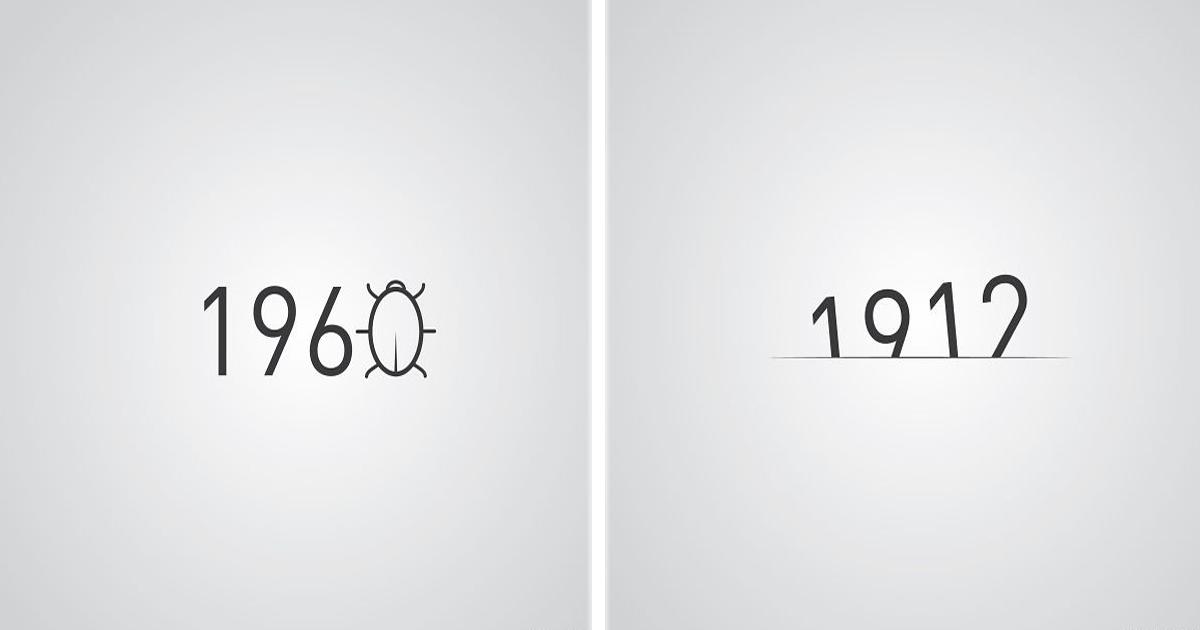 12 Eventos históricos ilustrados con los números de sus fechas.