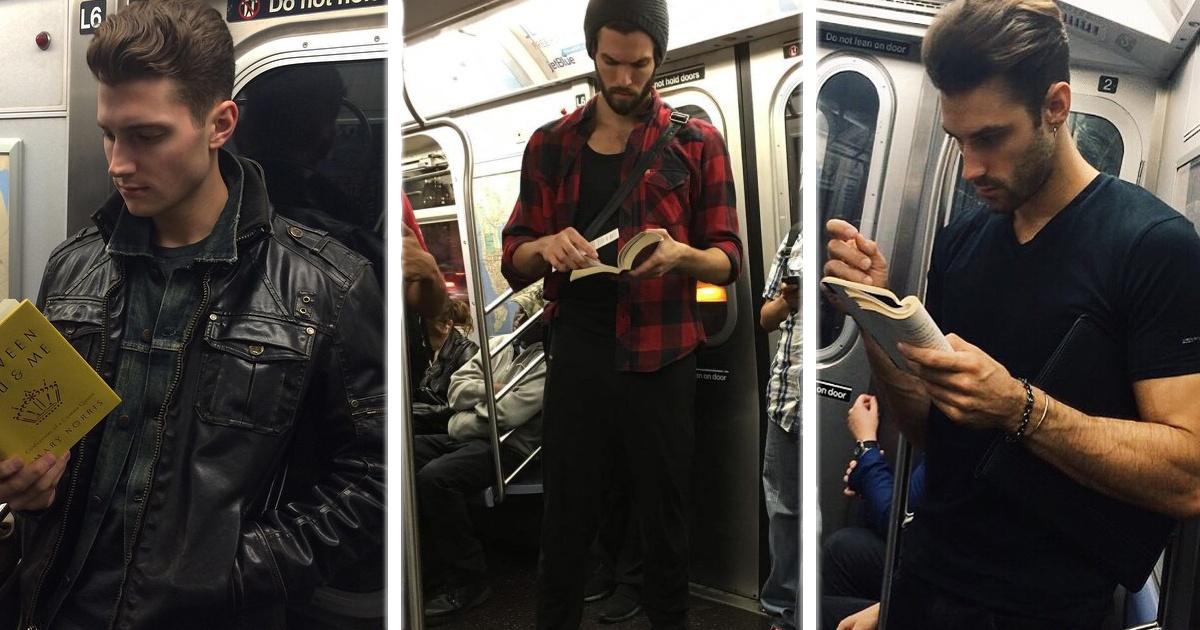 16 Hombres guapísimos leyendo en el transporte público.