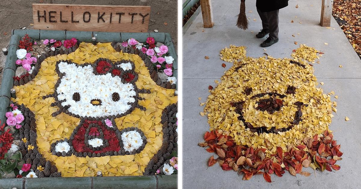 Arte con hojas de otoño… Sí, solo en Japón