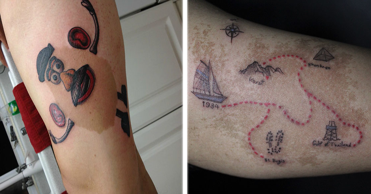 10 Personas que cubrieron marcas de nacimiento con tatuajes de la manera más creativa.