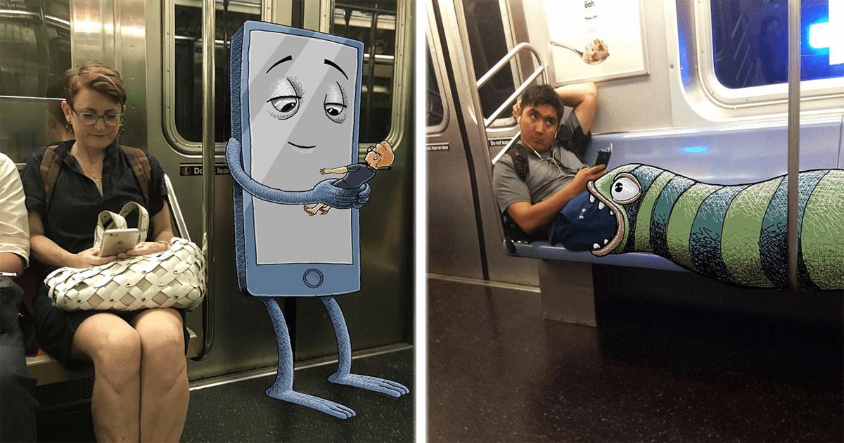 Monstruos en el transporte público, este artista los agrega a fotos de otras personas.