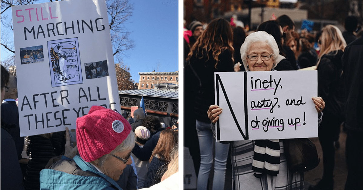 10 Mujeres adultas que protestaron en la Marcha de Mujeres con todo el estilo y poder femenino.