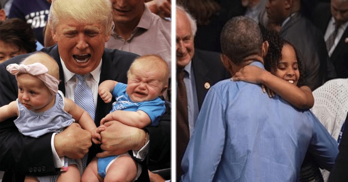 Obama vs. Trump: Fotografías con niños.