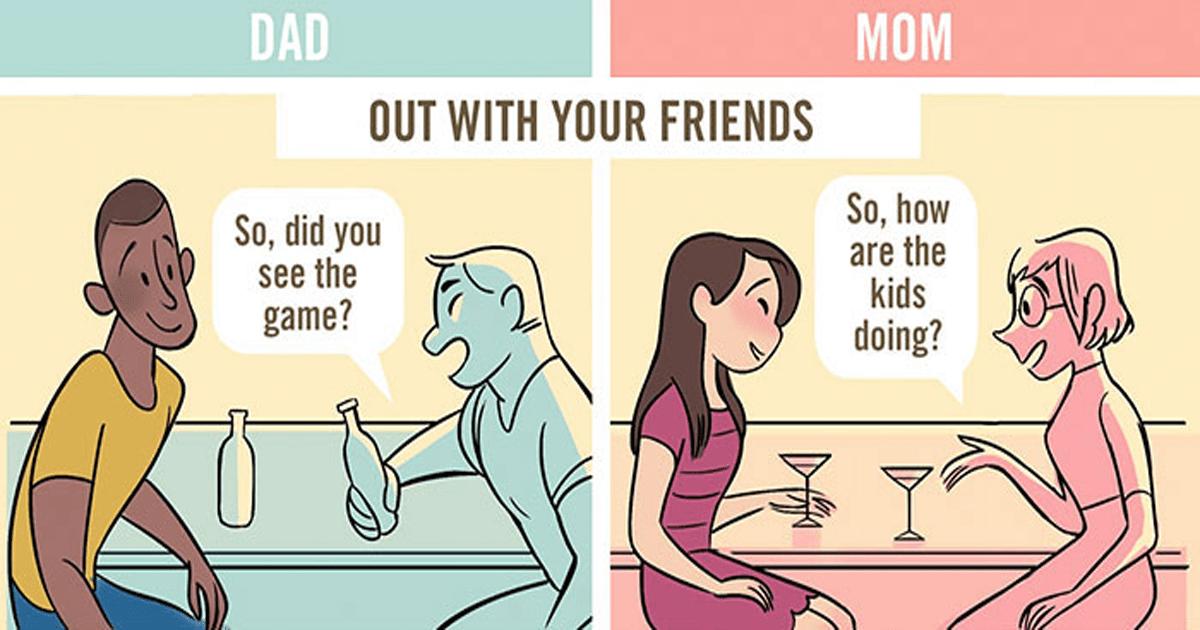 5 Comics que ilustran qué tan diferente son vistos las madres y padres en público.