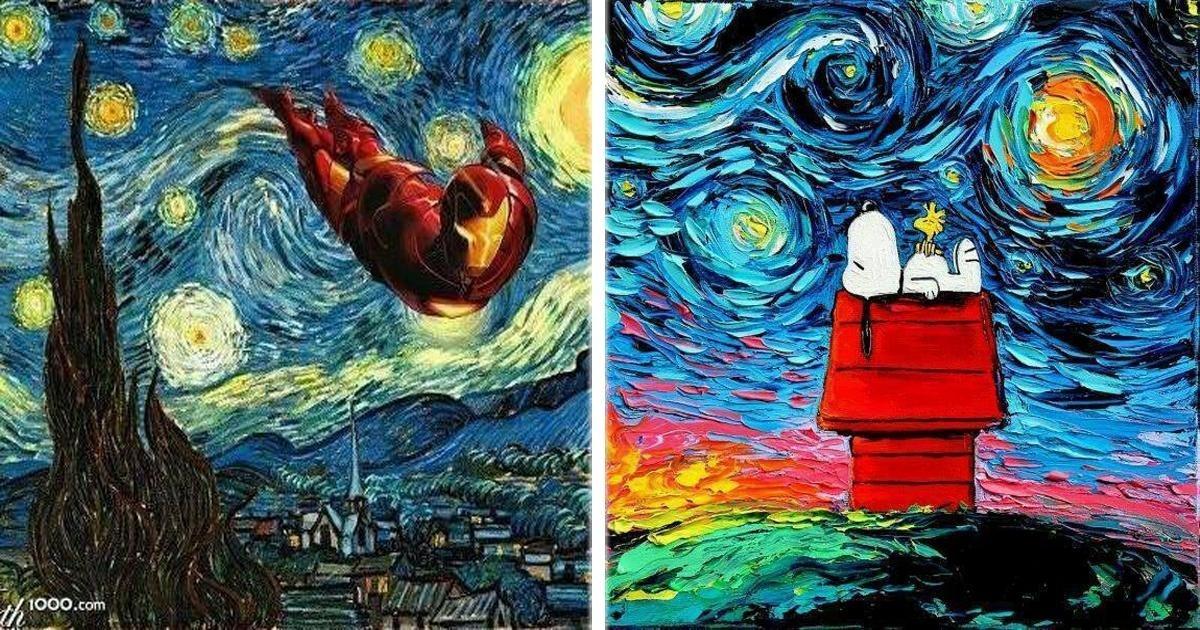 """""""La Noche Estrellada"""" de Van Gogh es recreada con algunos personajes conocidos."""