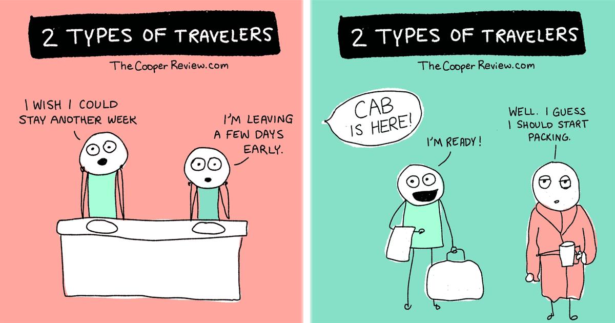 10 Ilustraciones que retratan los dos tipos diferentes de viajeros.