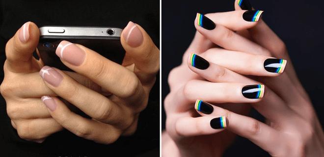 Haz del clásico manicure francés algo divertido y diferente